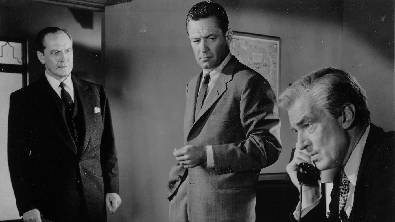 Fredric March, William Holden, Walter Pidgeon:  Contenders three:  conniving bean-counter, crusading hero, weak sister.