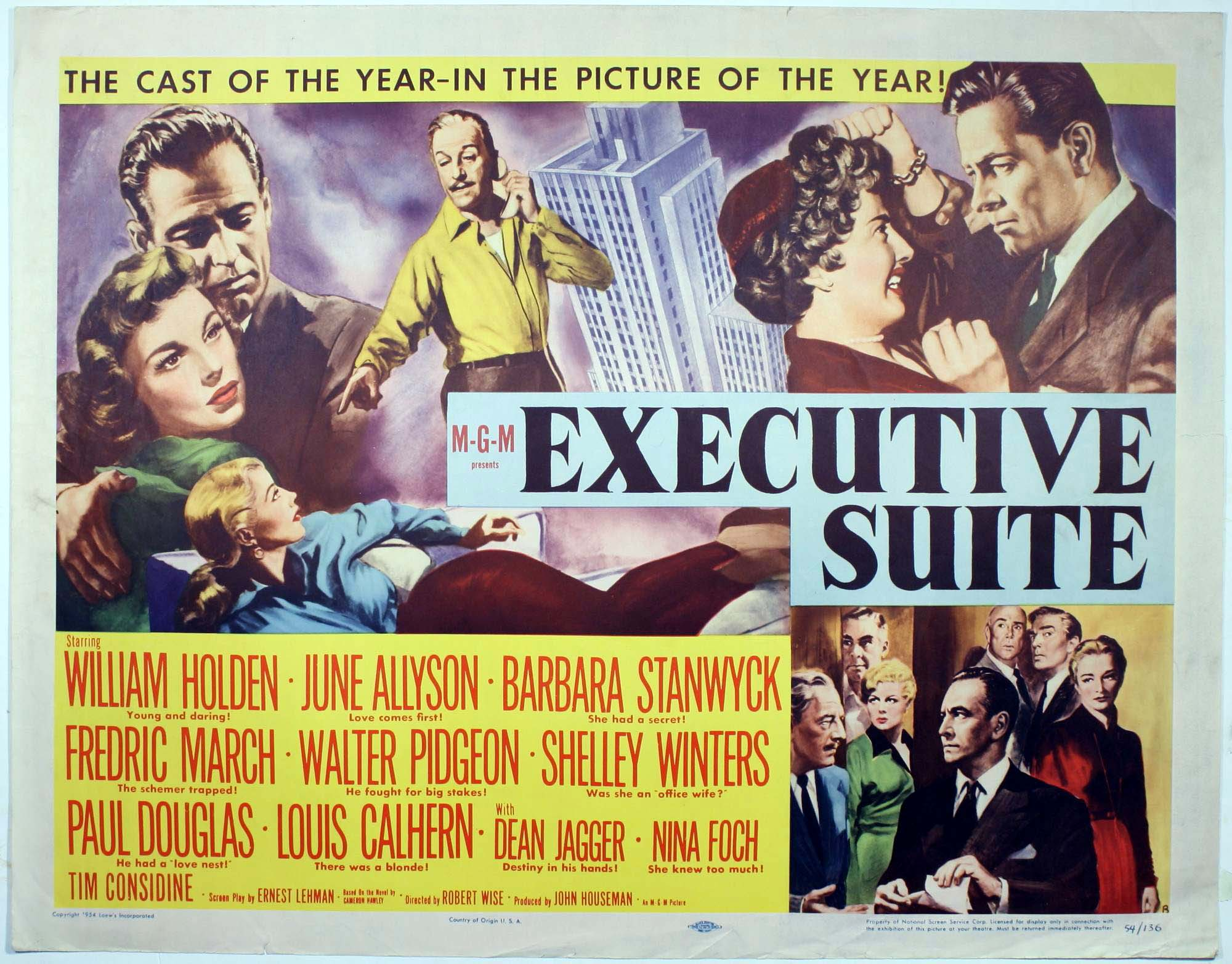 Executive Suite Poster:  Funny, but completely misleading.  That chick with Bill Holden is supposed to be June Allyson -- she looks more like va-va-voom Elaine Stewart from 'The Bad and the Beautiful.'
