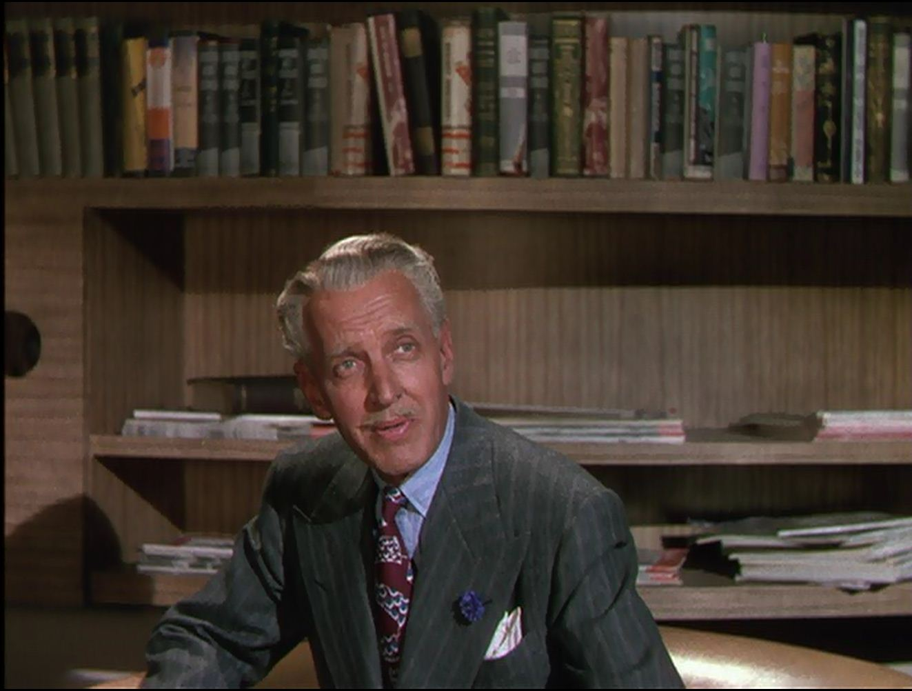 Otto Kruger in 'Cover Girl': One of his rare non-villain roles -- even so, we root against him.