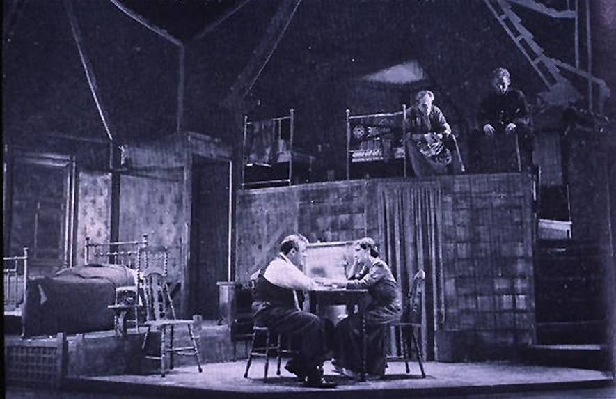 Original production of 'Salesman.' Lee Cobb and Mildred Natwick in the foreground.