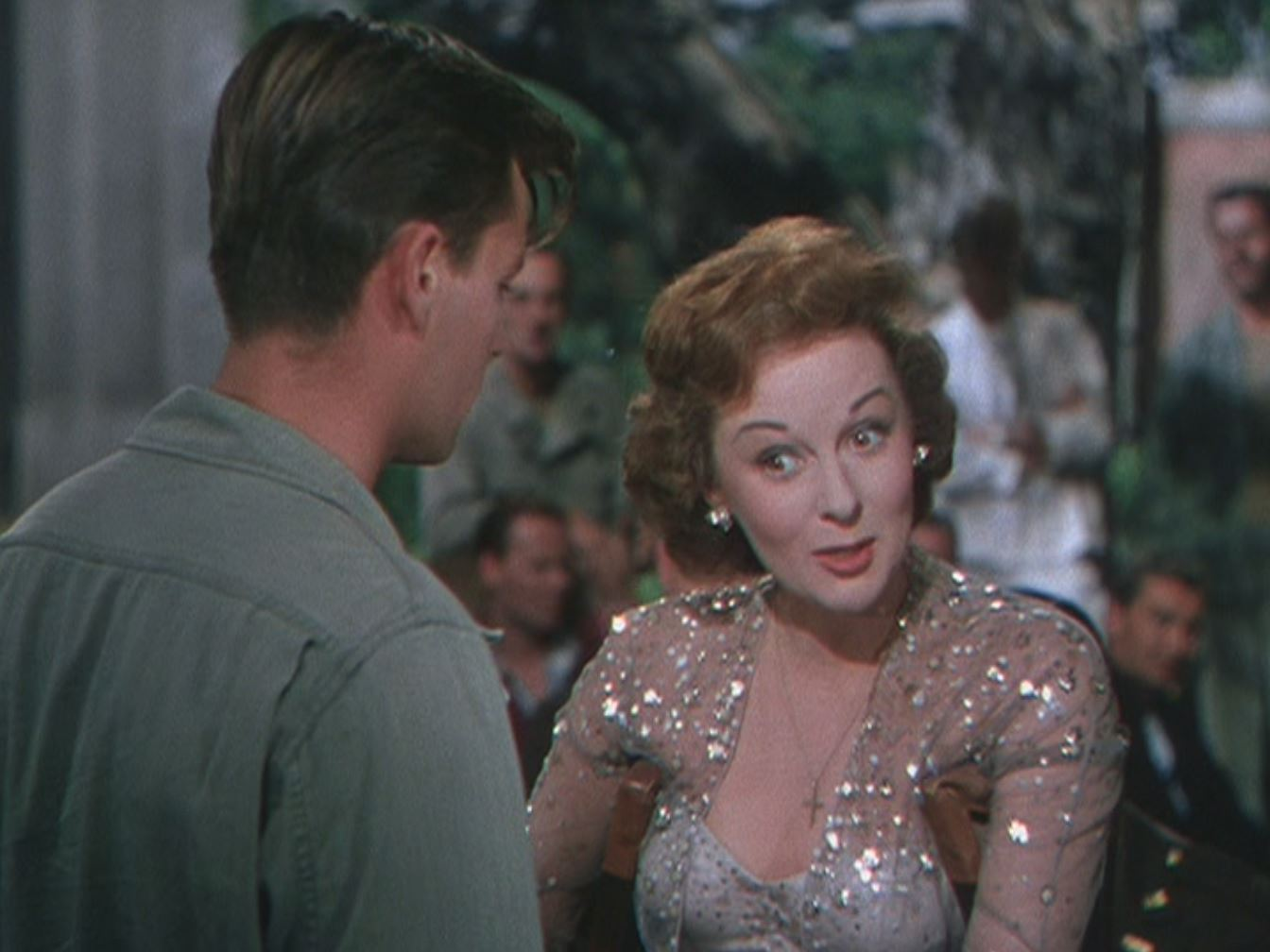 Susan Hayward as Jane Froman, the valiant, full-throated gimp; at song's end Robert Wagner falls into her crutches.