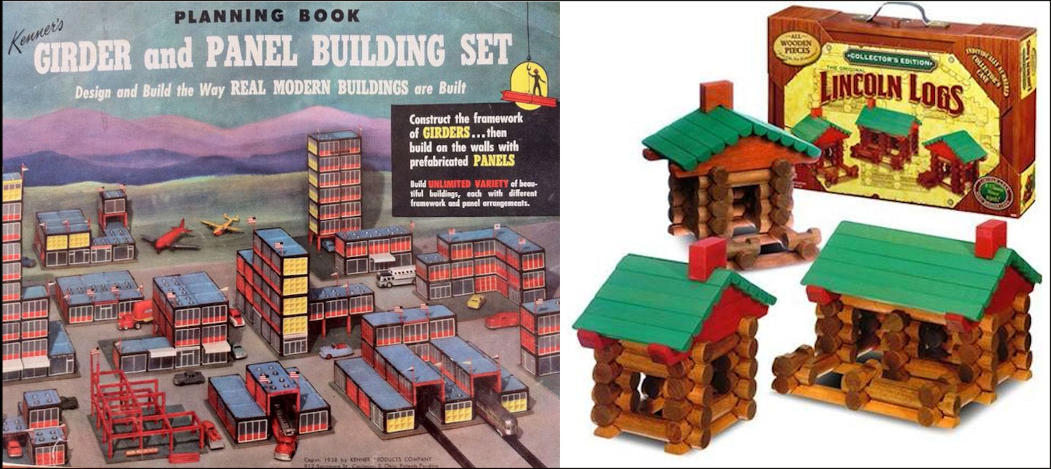 Separated at birth? 'Green for Danger' set, Kenner's Girder and Panel set, Lincoln Logs