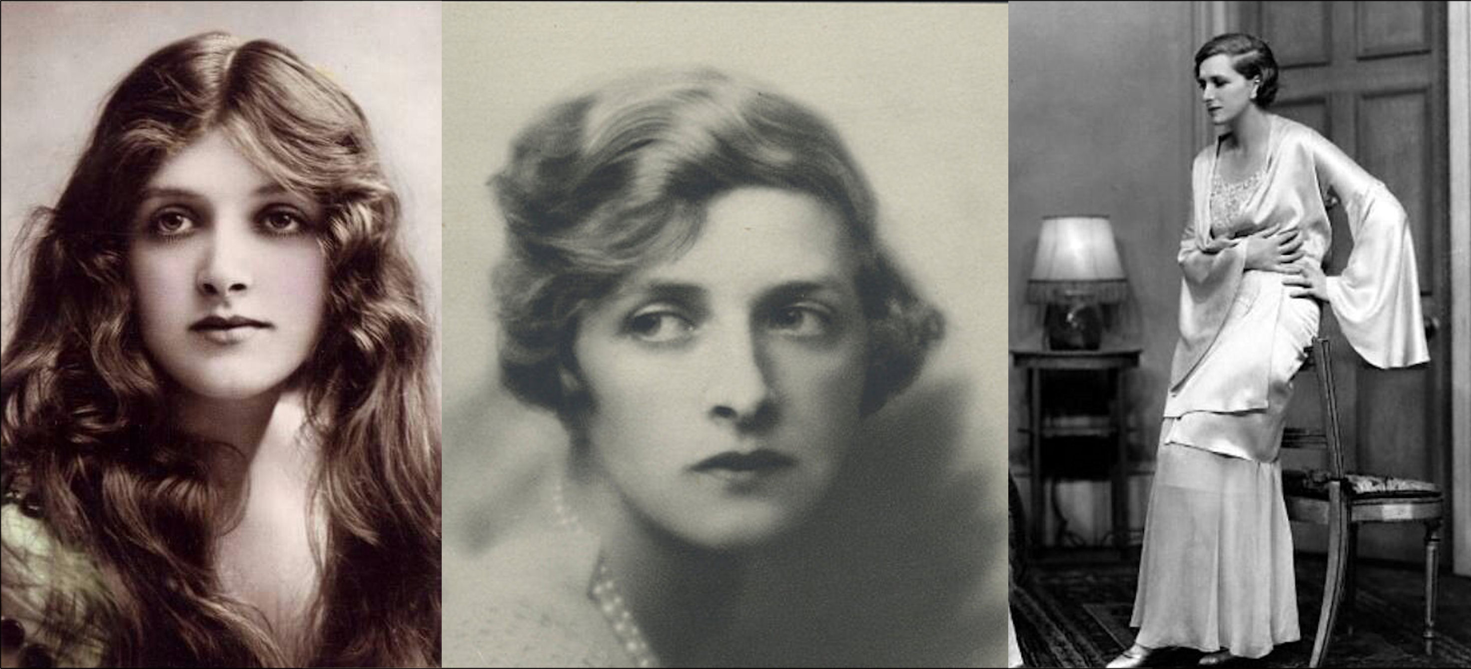 L to R: Gladys Cooper in the 1910s;  Hugh Cecil's 1926 portrait; Cooper on stage, circa mid-1920s.