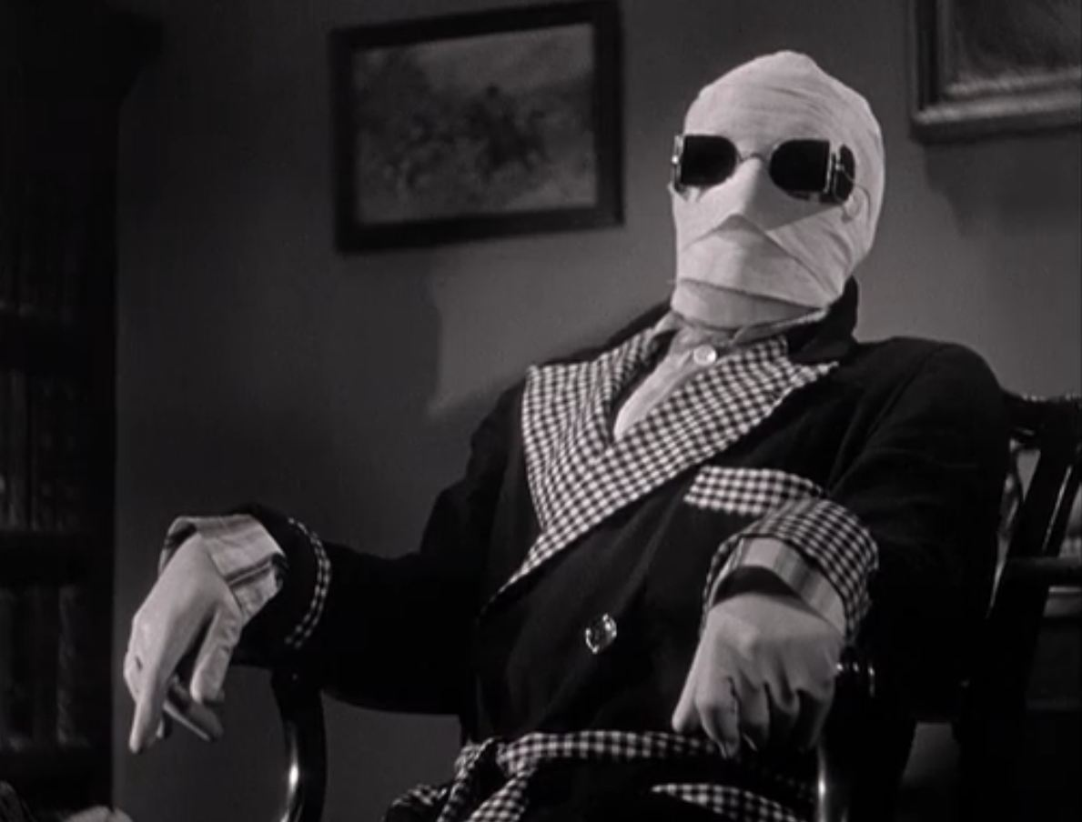 Keeping under wraps: Claude Rains as Dr Jack Griffin, the Invisible Man.