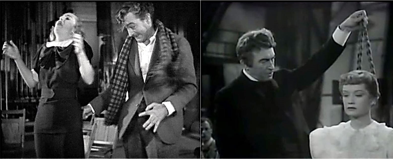 L: Barrymore instructs Lombard in the art of acting. R: Rains instructs Hopkins.